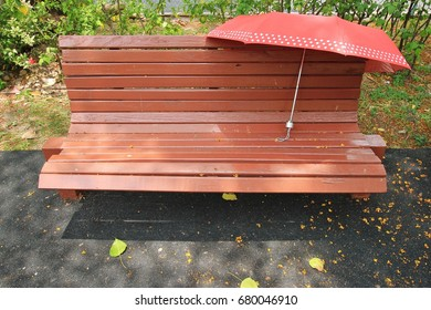 bench with red umbrella in the park