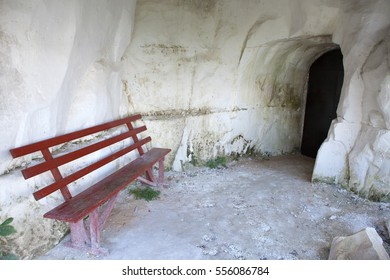 Bench to rest near the entrance of the cave, carved into the rock