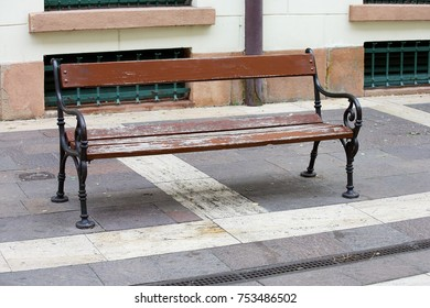 bench for rest on paving stones