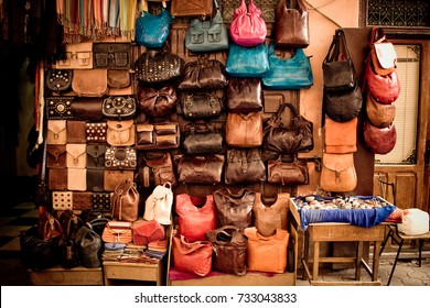 Bench selling leather handbags