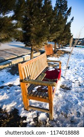Bench with snow on the ground, Kabul Afghanistan