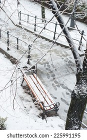 bench and stairways at winter