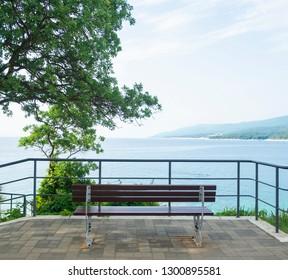 Bench summer view in Croatia looking on Adriatic Ocean