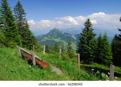 A bench in the Swiss Alps