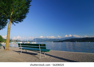 A bench in the Swiss Alps by Lake Luzern