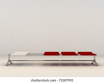 Bench with three red seats and one red one - 3d Illustration