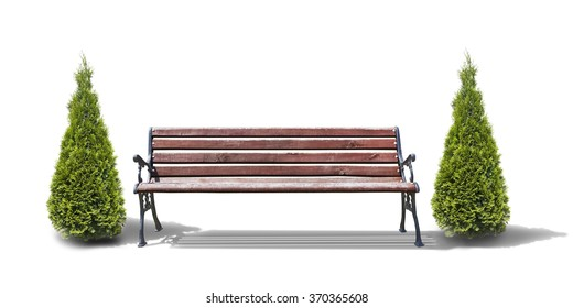 bench with trees isolated on white