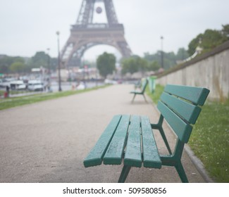 Bench in Trocadero Plaza and Eiffel Tower