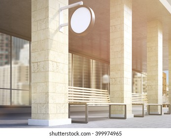 Bench under portico between columns, round signs on columns. Side view. Toned, filter. Concept of bus stop. Mock up. 3D rendering