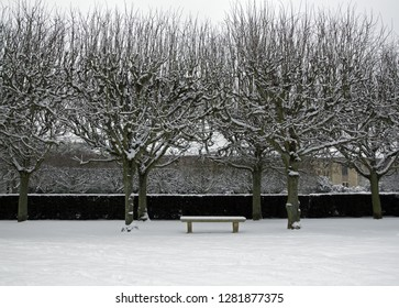 Bench under the snow, a garden near Paris (France Europe)