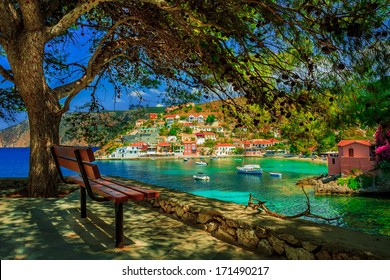 Bench under a tree on a sunny day at Assos beach, Kefalonia, Greece