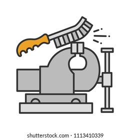 Bench vice cleaning with wire brush color icon. Leg vice. Isolated raster illustration