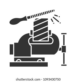 Bench vice fixing wooden plank glyph icon. Silhouette symbol. Leg vice and metal file. Negative space. Raster isolated illustration