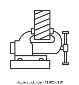 Bench vice fixing wooden plank linear icon. Thin line illustration. Leg vice. Contour symbol. Raster isolated outline drawing