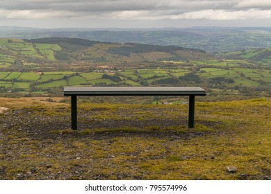 Bench with a view, seen at the Black Mountain Quarries in Carmarthenshire, Dyfed, Wales, UK