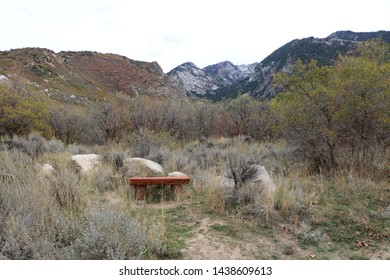 A bench with a view of the Wasatch Mountains at Bellss Canyon, Sandy, Utah