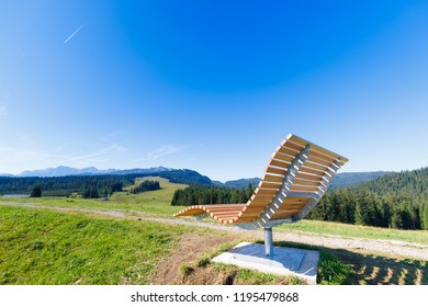 bench at Winklmoosalm to Steinplatte on a sunny summer day
