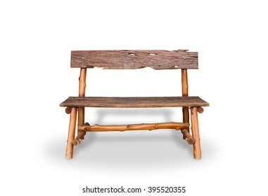 Bench. Wooden. of rough planks and logs. rustic bench of ecological materials. isolated on white background with clipping path