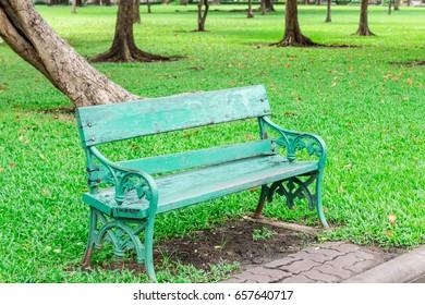 Bench-chair in public park-garden