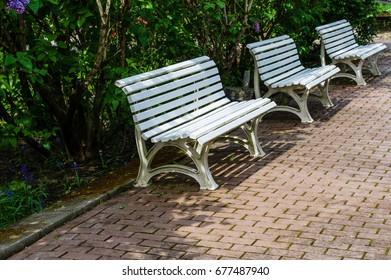 Benches along a brick walkway in a park