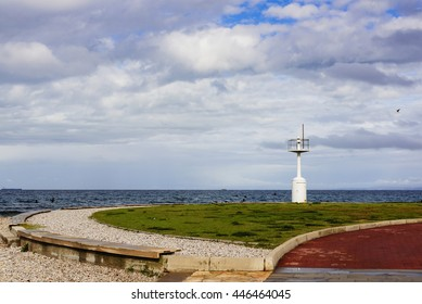 Benches near the lighthouse, Slovenia, Adriatic sea.