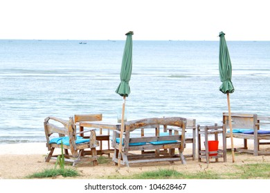 Benches on beach