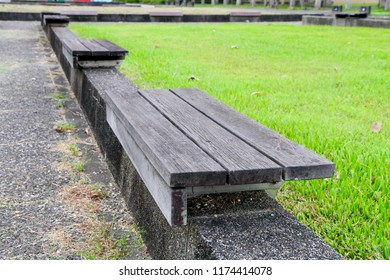 The benches in a park.