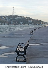 Benches at Rumeli Fortress Seaside in Bosphorus, Istanbul, Turkey.