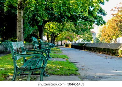 Benches that run along the moat.