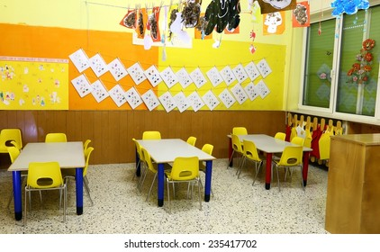 benches and yellow chairs in a nursery for children