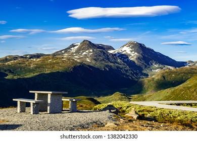 Benchs in Jotunheimen national park in Norway
