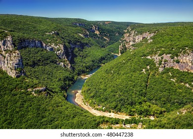 A Bend in the Ardeche River in Gorges de l'Ardeche, South-Central France