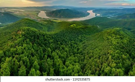 Bend of Danube river in Predikaloszek, Hungary at daylight