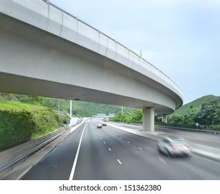 Bend of highway with bridges
