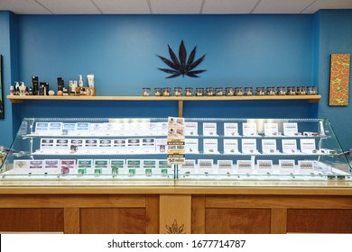 BEND, OR, UNITED STATES - Mar 08, 2018: Dr Jolly's Cannabis Dispensary in Bend, Oregon, USA.  Selling, THC and CBD edibles, flower, wax, concentrates, joints, beverages.