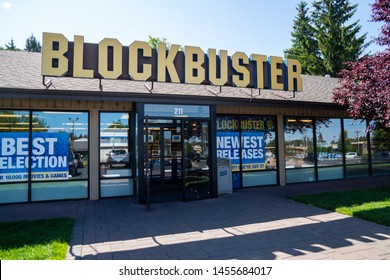 Bend, Oregon - July 8 2019: Exterior of the last remaining Blockbuster Video  rental store in the United States of America