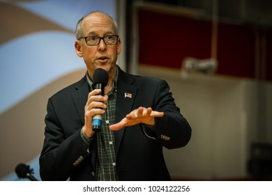 Bend, Oregon / USA - April 14 2017:  Oregon Congressman, Greg Walden speaks in front of constituents at a heated town hall meeting at Mountain View High School.