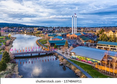 Bend, Oregon / USA - April 19th, 2019 - Blue Hour Aerial of the Old Mill District