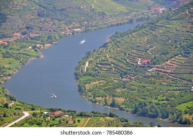 A bend in the River Douro, Portugal's biggest river which flows through famous vineyards, on which river cruises take tourists