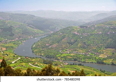 A bend in the River Douro, Portugal's biggest river which flows through famous vineyards