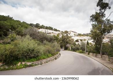 A bend in road  in almunecar spains
