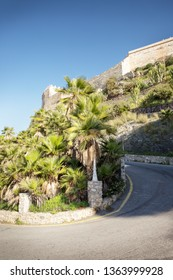 bend in the road leading up a hill to Castillo de San Miguel Medieval castle in almunecar spain