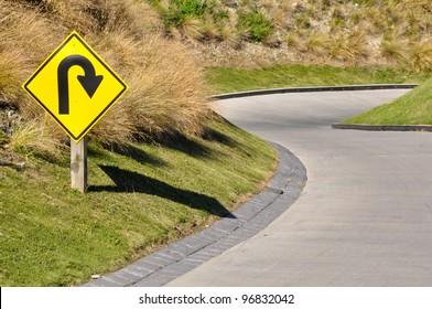 Bend traffic sign