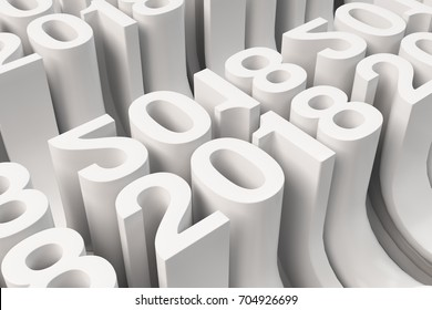 Bended 2018 3D numbers. Grid of white New 2018 Year figures. Abstract background. 3D rendering illustration of 2018 number