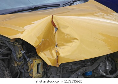 Bended Metal Damage After Car Crash Collision