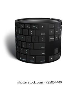 Bended Stylistic Keyboard 3D rendering