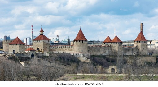 Bendery, Transnistria / Moldova - 03 16 2018: View to towers of Bendery fortress from highway Tiraspol-Bendery. The fortress was built during the Ottoman times. Biggest fortress in Eastern Europe.