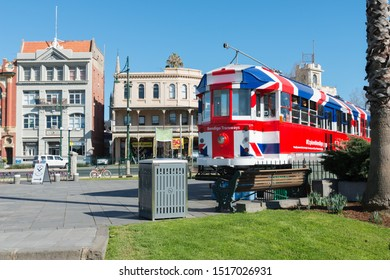 Bendigo, AUSTRALIA - Aug 16, 2019:  Australian Heritage Historical Trams Old Victorian Public Transport in the street, Famous Tourist Attraction of Bendigo City