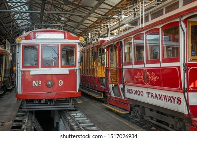 Bendigo, AUSTRALIA - Aug 16, 2019:  Australian Heritage Historical Trams Old Victorian Public Transport at Bendigo Tramways Depot, Famous Tourist Attraction