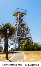 Bendigo, Australia - March 29, 2015: poppet head lookout tower in Rosalind Park. The poppet tower was installed at the site in 1931.